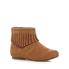 Mantaray - Tan suedette tasseled ankle boot