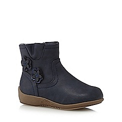Mantaray - Girl's navy flower detail ankle boots