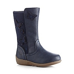 bluezoo - Girls' navy butterfly applique boots