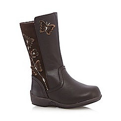 bluezoo - Girls' brown butterfly applique boots