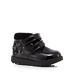 bluezoo - Girls' black patent 3D flower ankle boots