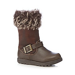 bluezoo - Girl's brown faux fur cuff biker boots