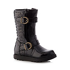 bluezoo - Girl's black star quilted patent boots