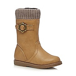 bluezoo - Girls' tan ribbed cuff boots