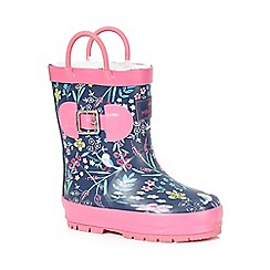 Mantaray - Girls' navy bird print wellington boots