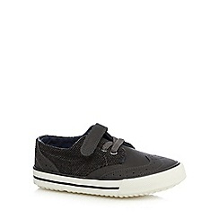 bluezoo - Boy's grey herringbone side shoes