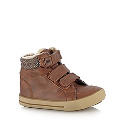 bluezoo - Boys' tan fleece cuff tab boots