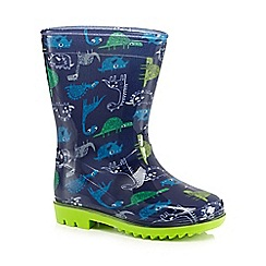 bluezoo - Boys' navy dinosaur print wellington boots