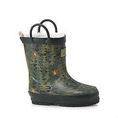 Mantaray - Boys' green woodland print wellington boots