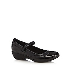 Debenhams - Girl's black patent wedge shoes