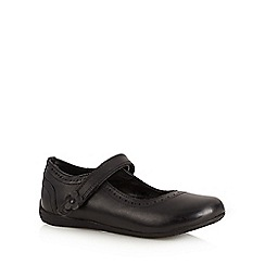 Debenhams - Girl's black leather mary jane school shoes