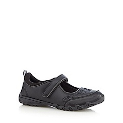 Debenhams - Girl's black sporty mary jane rip tape school shoes