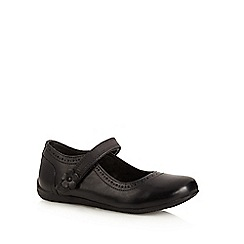 Debenhams - Girl's black leather flower tab wide fit school shoes