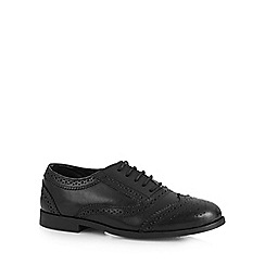 Debenhams - Girl's black leather wide fit school brogues