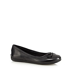 Debenhams - Girl's black leather wide fit school ballet pumps