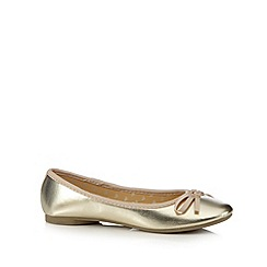 bluezoo - Girl's gold metallic bow pumps