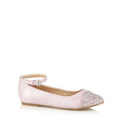 bluezoo - Girl's light pink glitter toe pumps