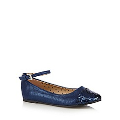 bluezoo - Girl's navy glitter toe pumps