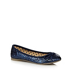 bluezoo - Girl's navy glittery bow pumps
