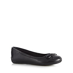 Debenhams - Girl's black leather ballerina school shoes