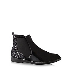 bluezoo - Girl's black patent glitter chelsea boots