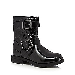 bluezoo - Girls' black quilted patent boots