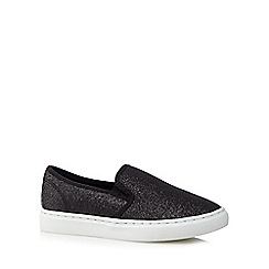 bluezoo - Girl's black glittery slip on trainers