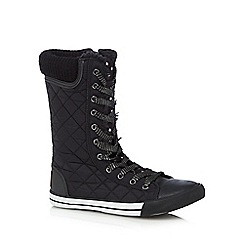 bluezoo - Girls' black quilted mid length lace up boots