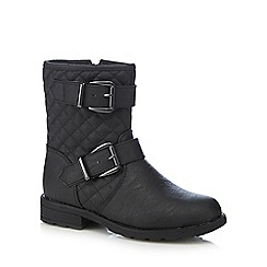 bluezoo - Girl's black quilted biker boots