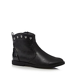 bluezoo - Girl's black heart studded ankle boots