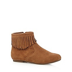 Mantaray - Girl's tan suedette tassel ankle boots