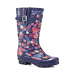 Mantaray - Girls' purple floral wellies
