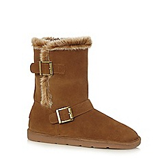 Mantaray - Girls' tan leather pull-on boots