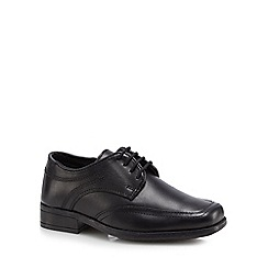 Debenhams - Boy's black leather wide fit lace up school shoes