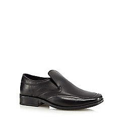 Debenhams - Boy's black leather wide fit slip on school shoes