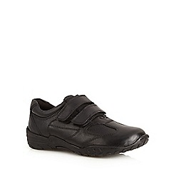 Debenhams - Boy's black leather wide fit rip tape school trainers