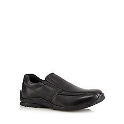 Debenhams - Boy's black leather wide fit sporty loafer school shoes
