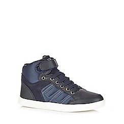 Mantaray - Boys' navy laced tab high-top trainers