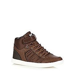 Mantaray - Boys' brown laced tab high-top trainers