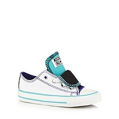 Converse - Girl's white double tongue canvas trainers