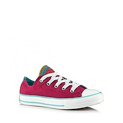 Converse - Girl's bright pink frilled slip on trainers