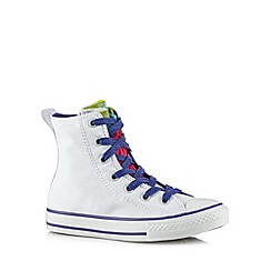 Converse - Girl's white frilled slip on hi-top trainers
