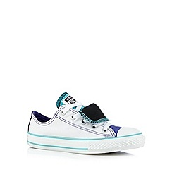 Converse - Girl's white double tongue trainers