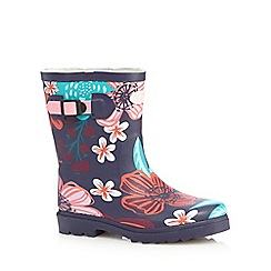 Animal - Girls' navy floral wellington boots