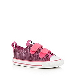 Converse - Girl's pink 'All Star' metallic weave two tab trainers