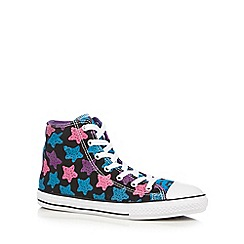 Converse - Girl's black 'All Star' animal print hi-top trainers