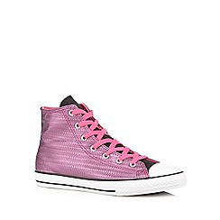 Converse - Girl's pink 'All Star' metallic weave hi-top trainers
