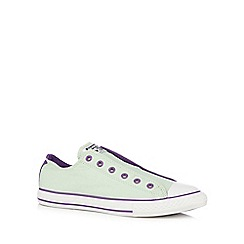 Converse - Girl's light green laceless trainers