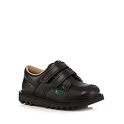 Kickers - Boy's black leather arch support rip tape shoes
