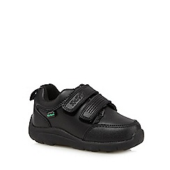 Kickers - Boy's black leather rip tape shoes